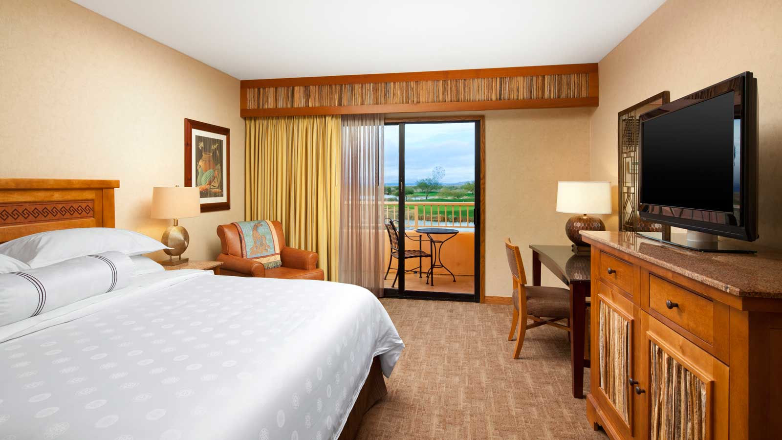 Deluxe Guestroom with golf course or mountain views at the Sheraton Grand at Wild Horse Pass Resort