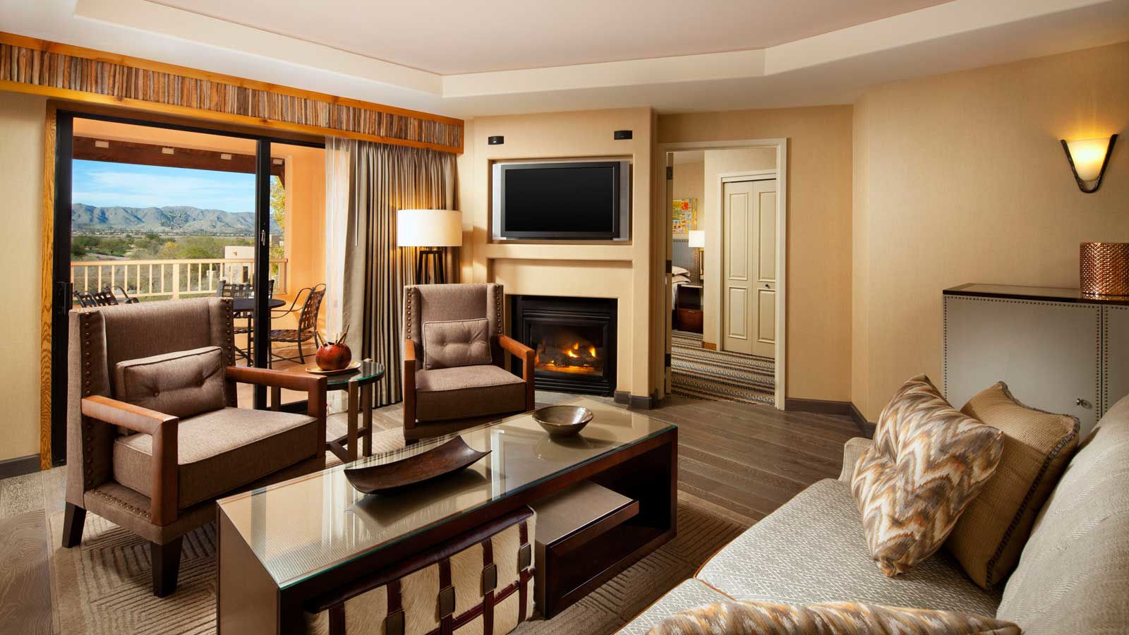 Spacious corner suite with resort views and balconies at the Sheraton Grand at Wild Horse Pass Resort
